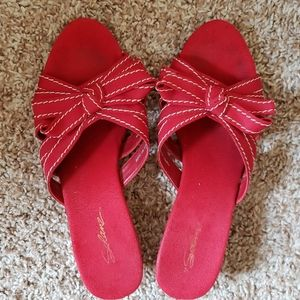 Solanz Red Wedge Sandals